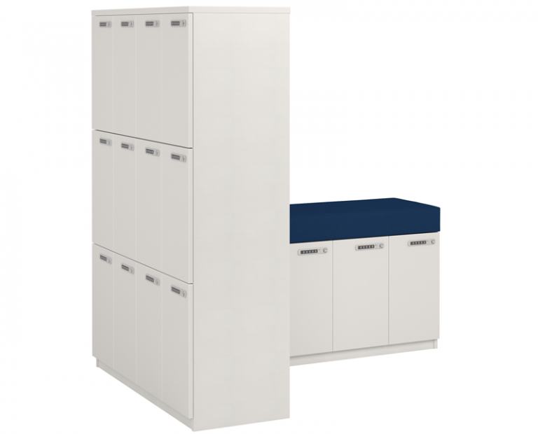 White and Blue Seated Lockers - Version 4